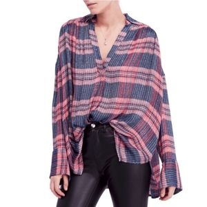 NWT Free People Pink Fearless Love Oversized Shirt